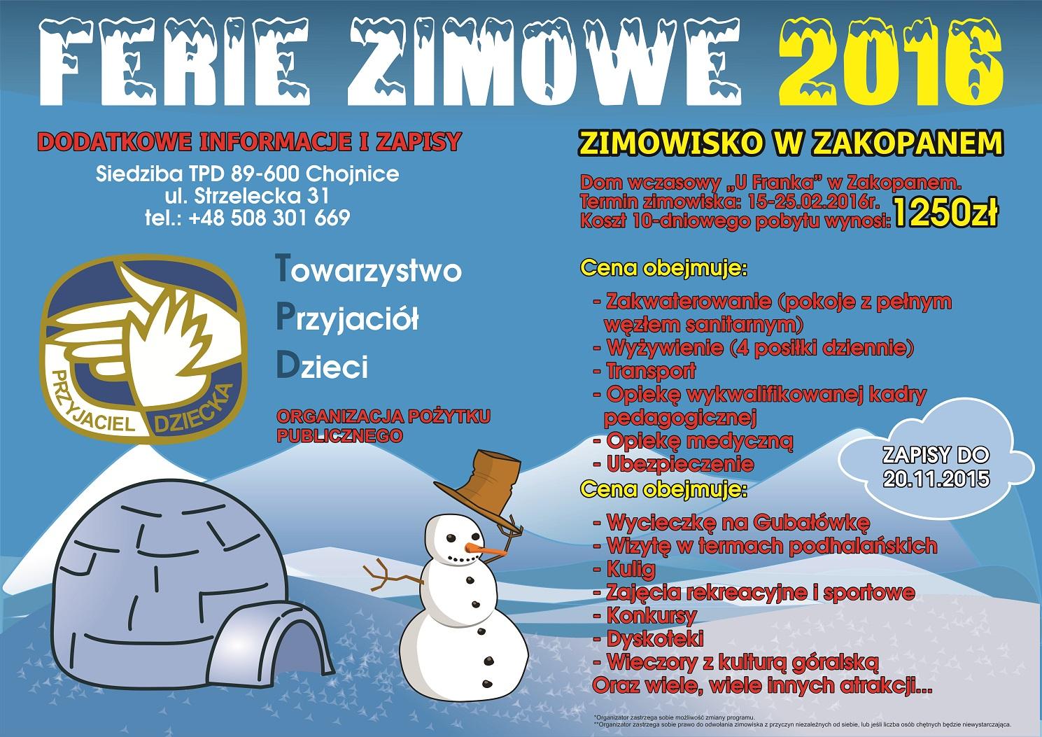 plakat zimowisko